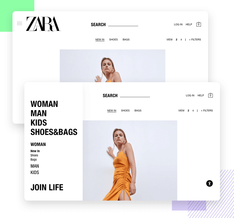Hamburger menu design - save screen real estate, example from Zara