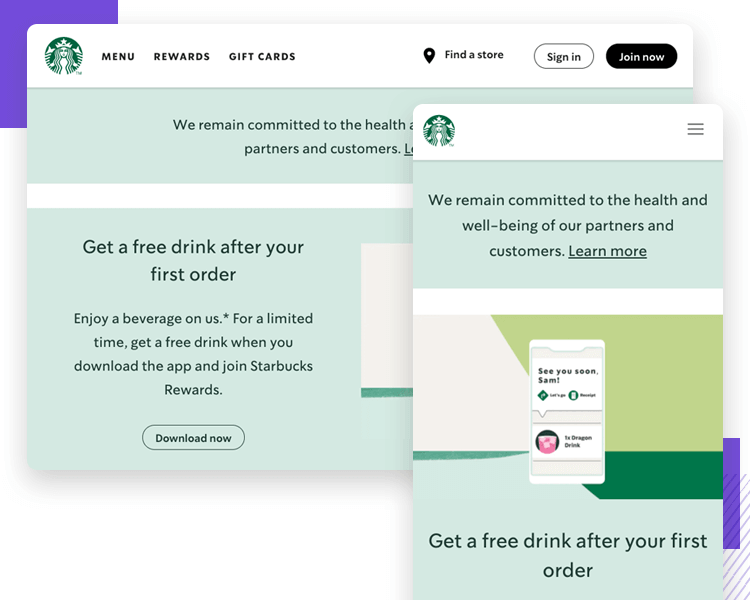 Hamburger menu design on responsive websites - Starbucks