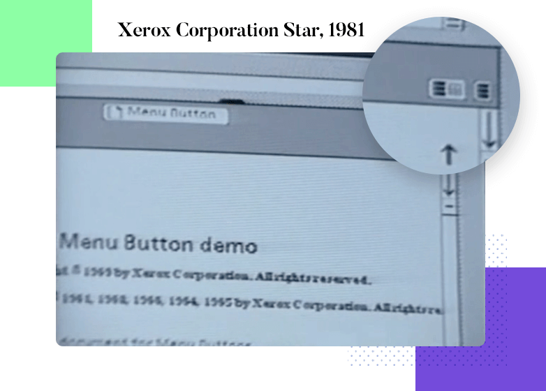 Hamburger menu design - Xerox Corporation Star, 1981