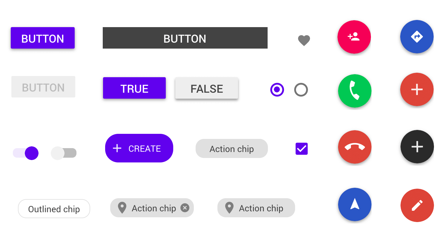 material design ui kit for buttons