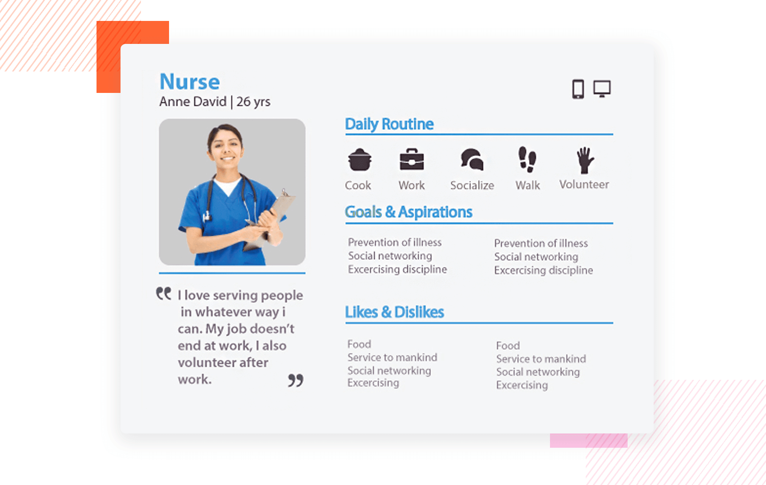 Simple designs can convey a lot of detail in user personas - Justinmind