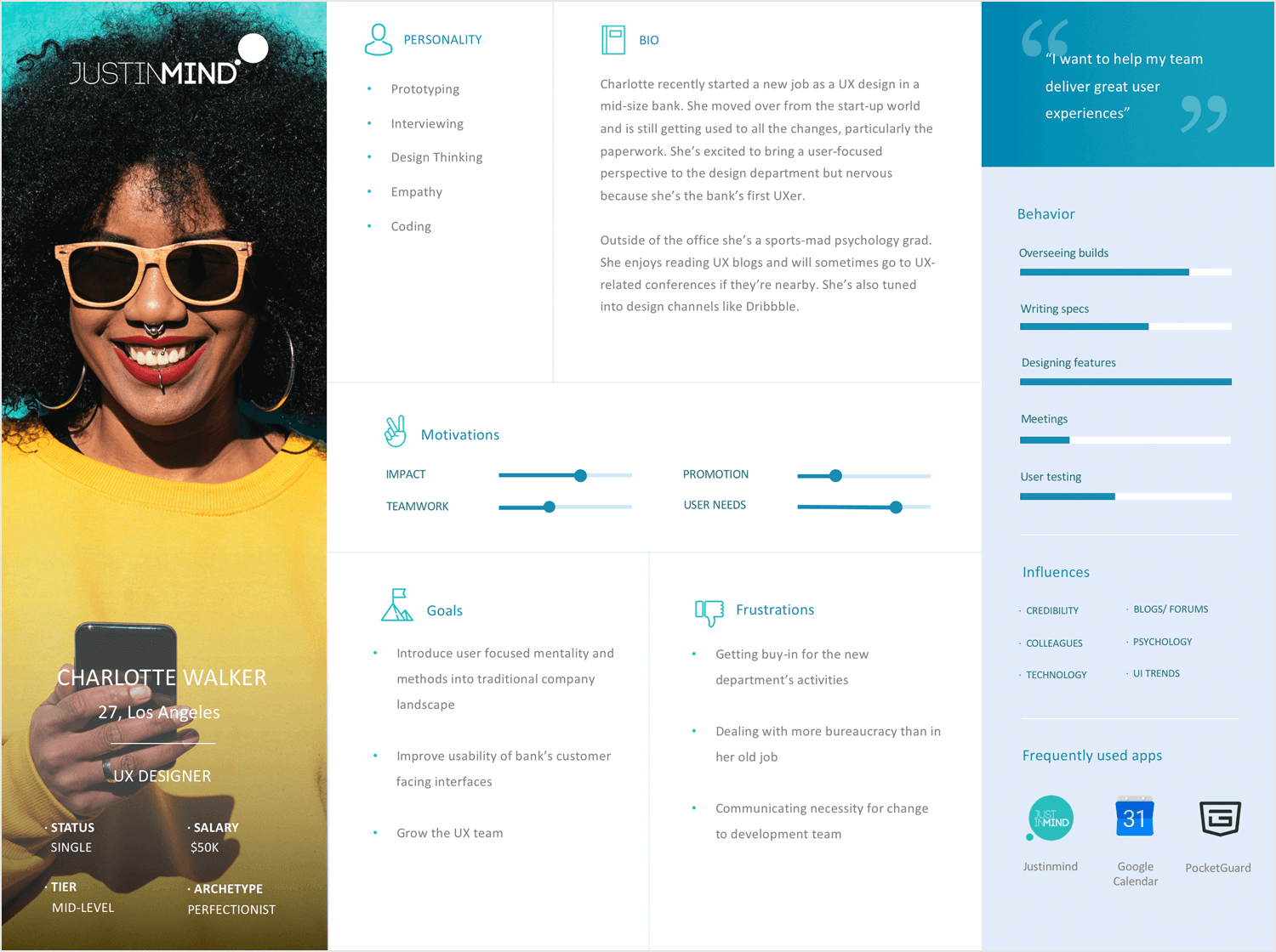 User personas - template and example from Justinmind of a UX designer