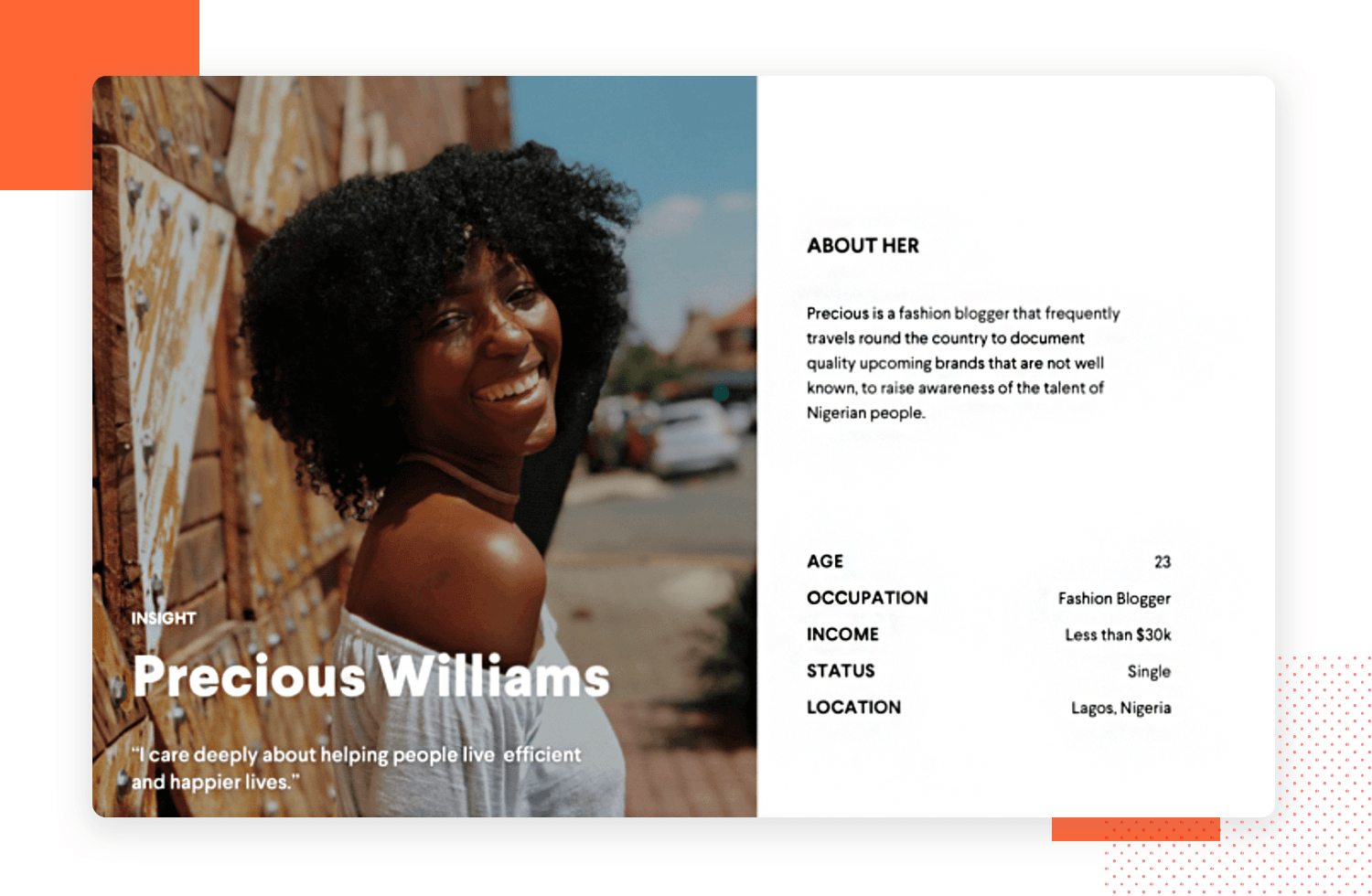 User persona template examples - fashion blogger