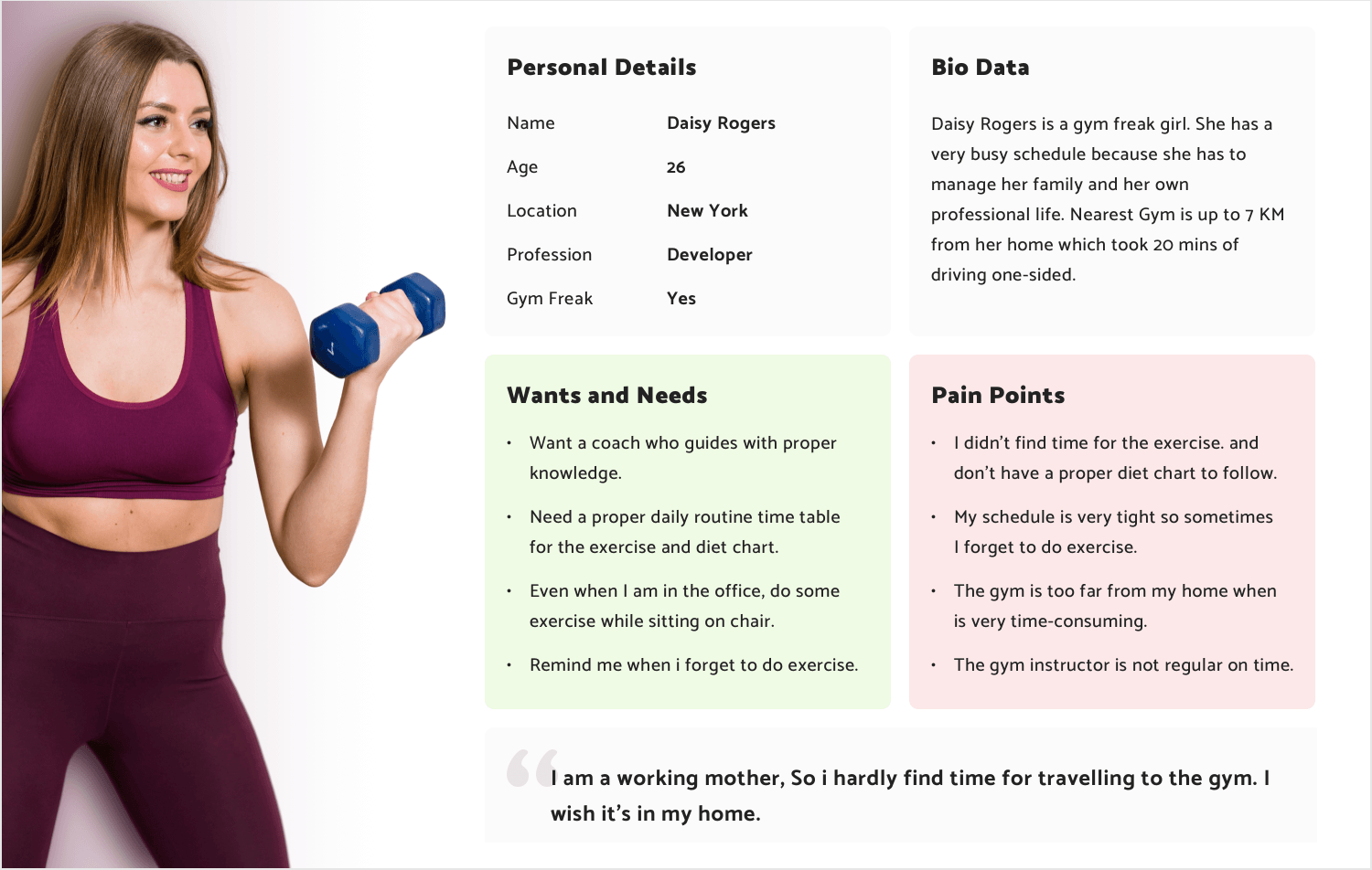User persona template examples - fitness