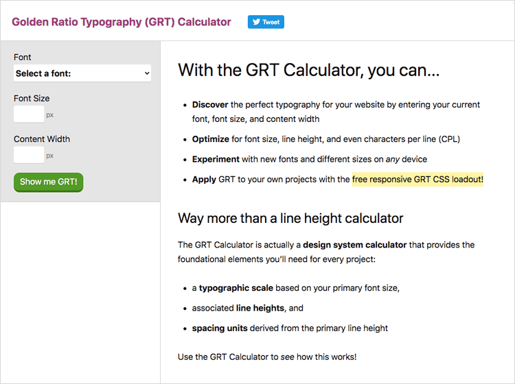 UI-UX tools - Golden Ratio Typography Calculator