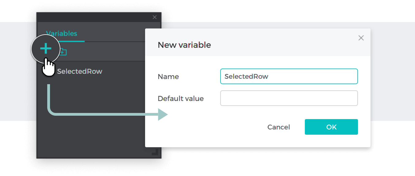 Variable added in the variables palette