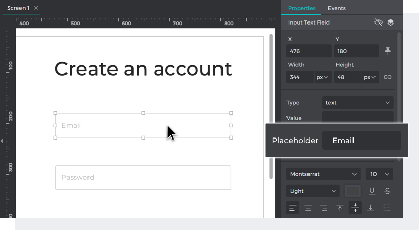 Type placeholder values into each input text field in the properties palette