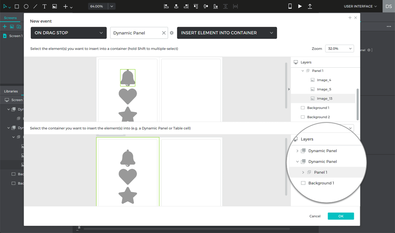 Create another on drag stop event, inserting the image into the panel on the left