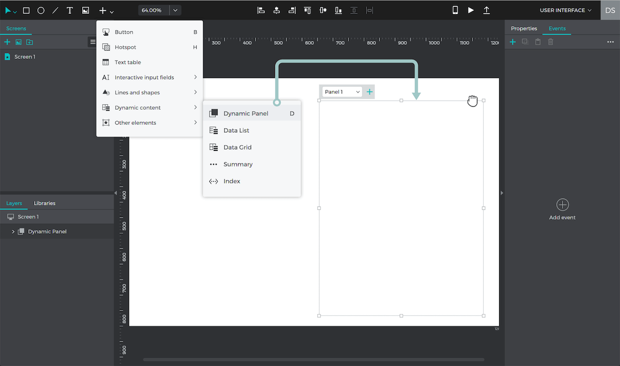 A dynamic panel on the canvas. Find it in the Toolbar under dynamic content.