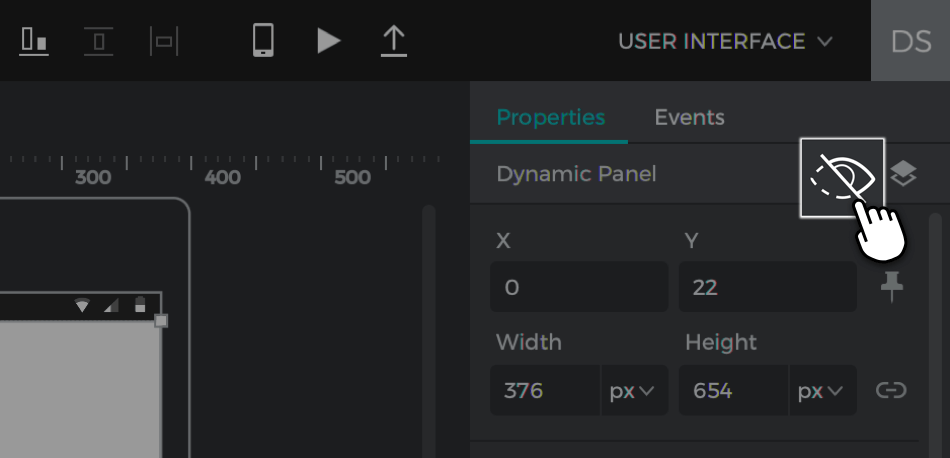 Click the eye button in the properties palette to hide the panel
