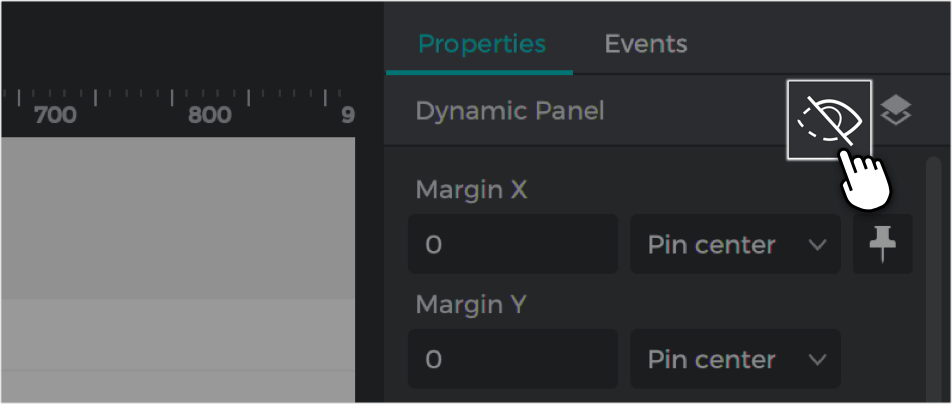 Mark the panel as hidden in the properties palette