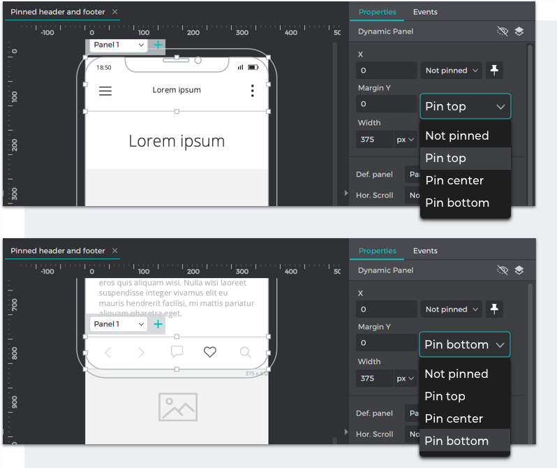 Choose 'pin top' for the header and 'pin bottom' for the footer in each dropdown