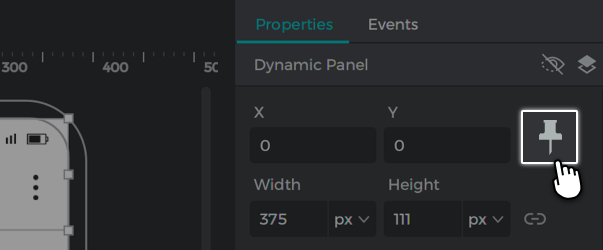 Click the pin button in the properties palette