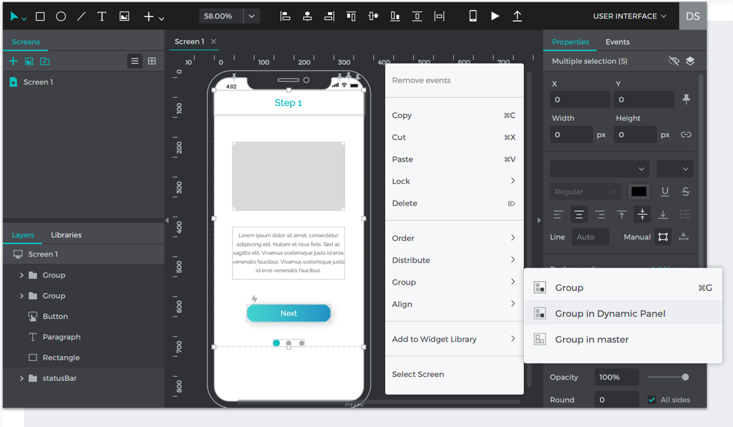 Select elements on the Canvas and right click to group them in a dynamic panel
