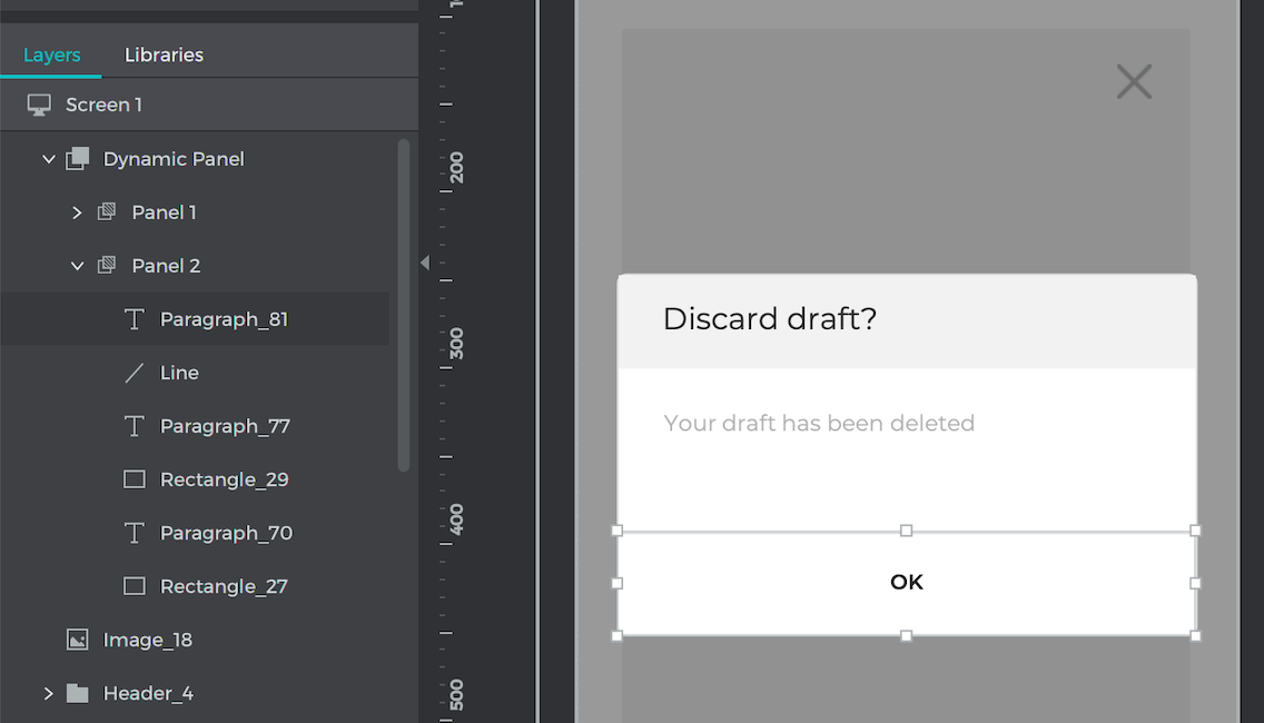 Style the second panel dialog