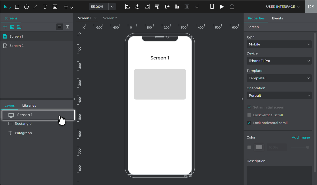 Select the base screen by clicking on it in the layers palette