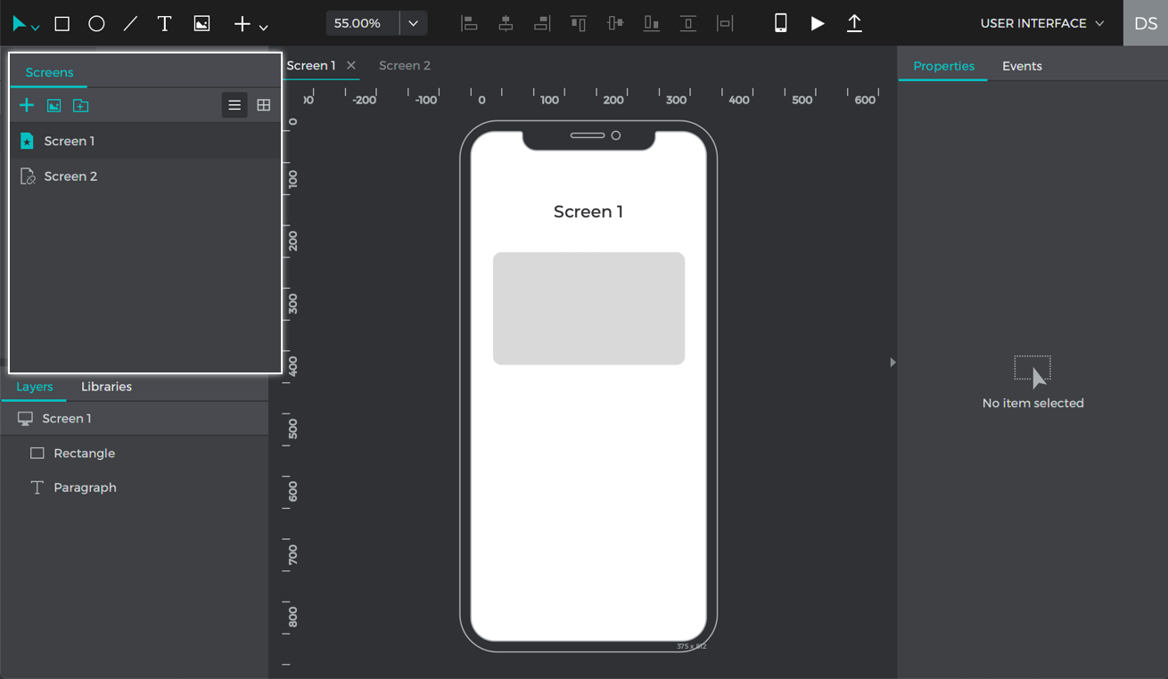 Create a prototype with 2 screens