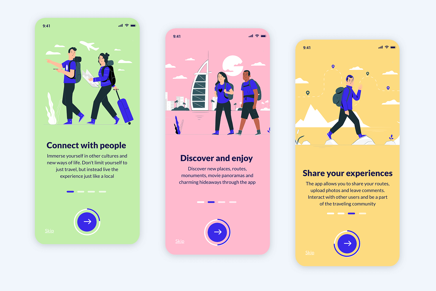app onboarding sequence mockup