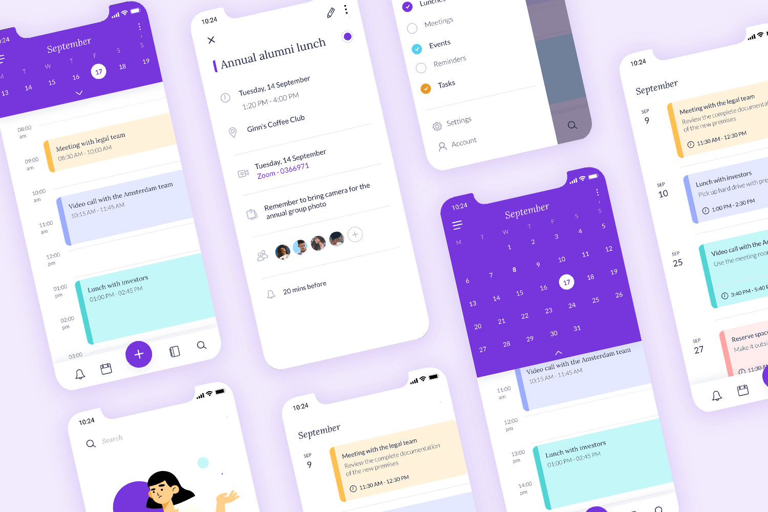 calendar and schedule app mockup and template