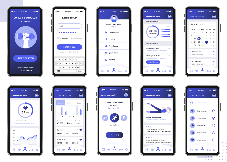 showing UI of fitness app mockup