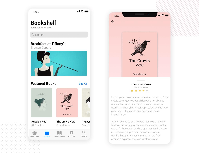 Bookshelf mobile app mockup