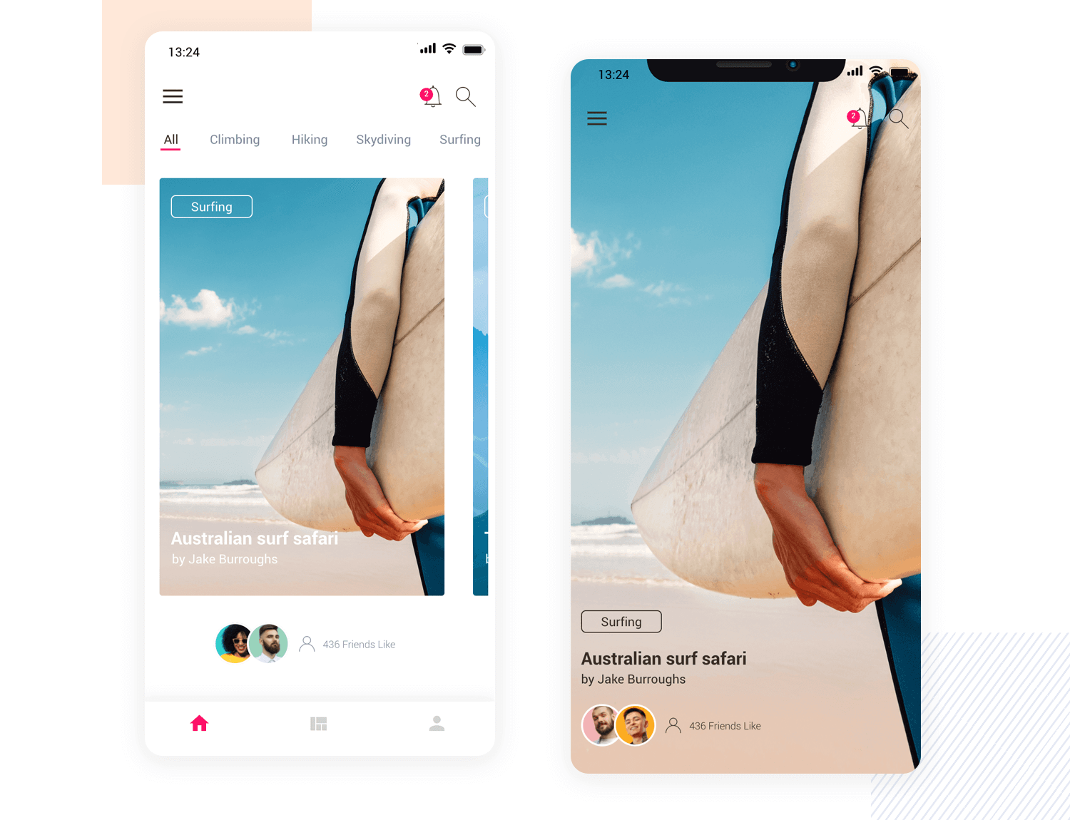 Travel Experiences mobile app mockup