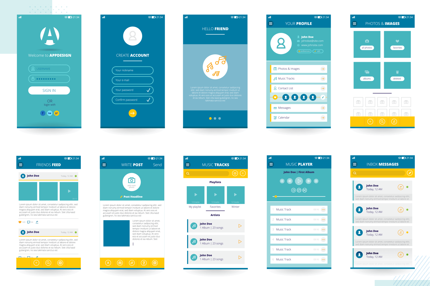 showing multiple screens of mockup for free download