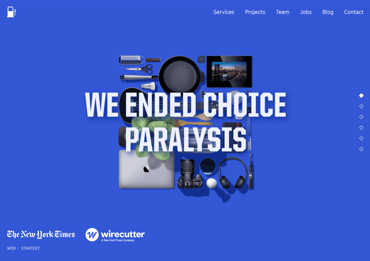 Parallax effect website scrolling - Fueled