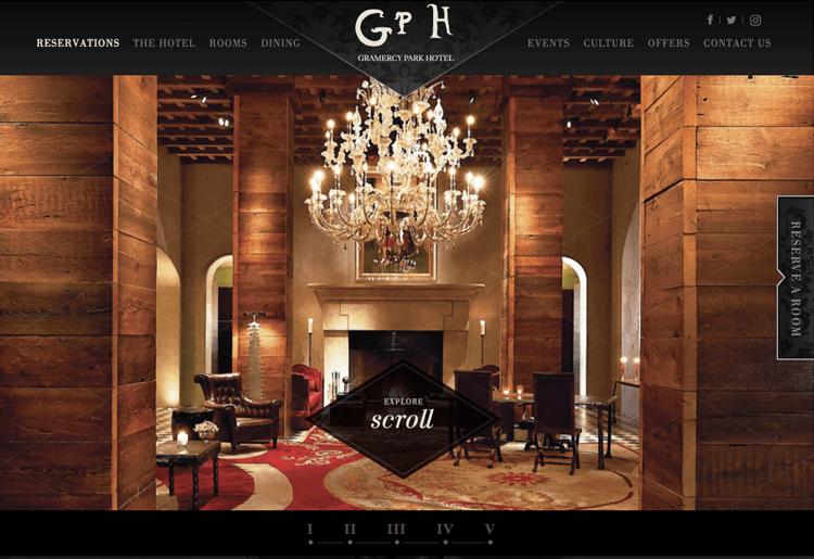 Parallax effect website scrolling - Gramercy Park Hotel