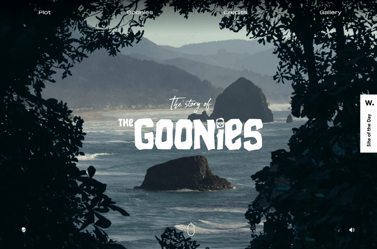 Parallax effect website scrolling - The Goonies