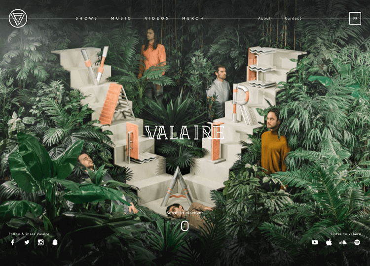 Parallax effect website scrolling - Valaire