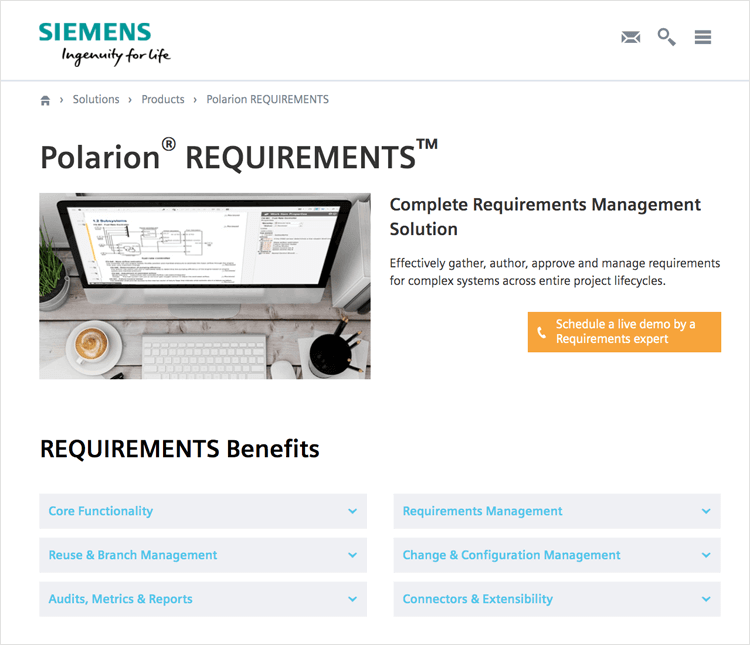 polarion by siemens for managing requirements