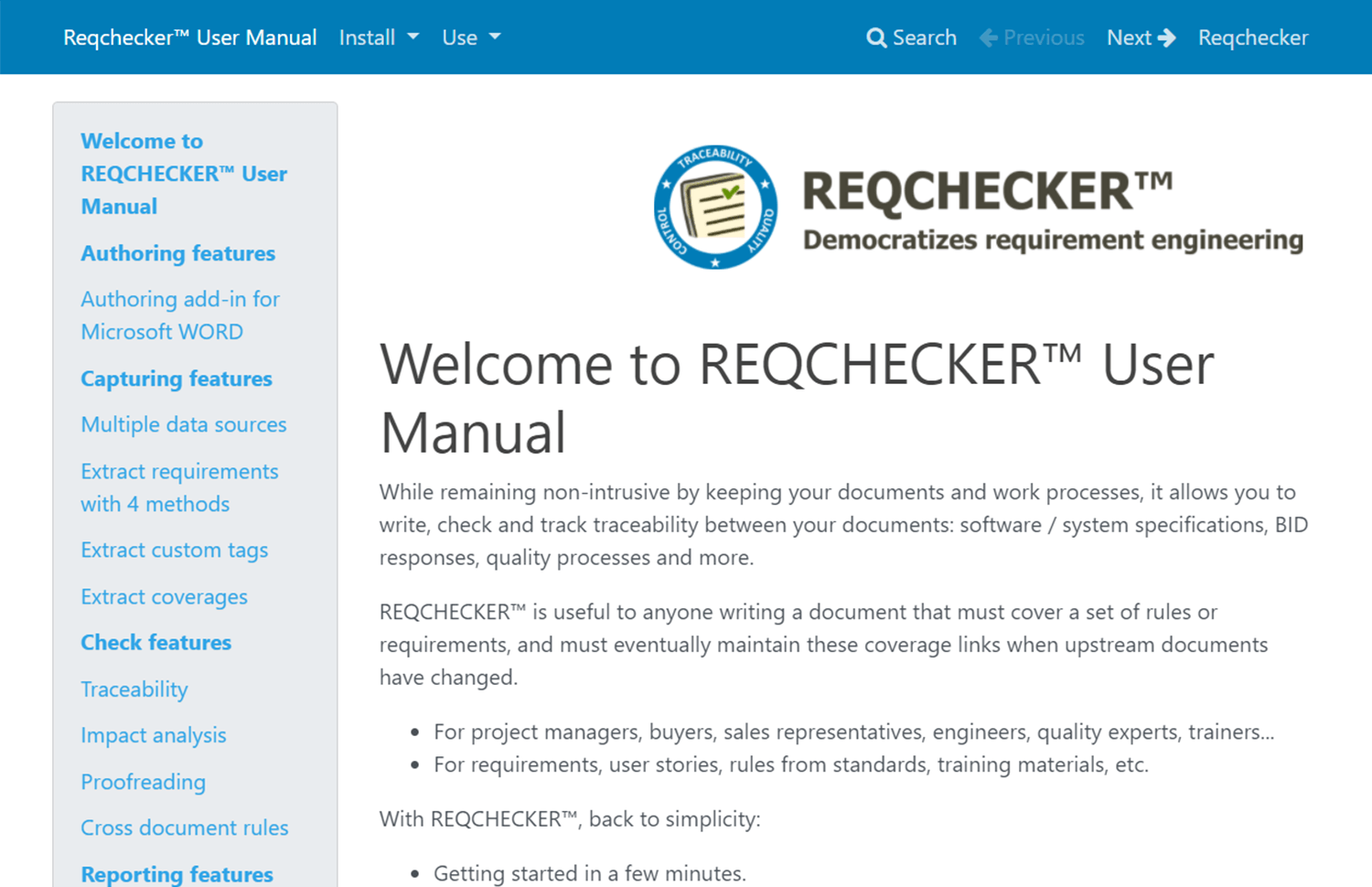 showing of a requirements tool by reqcheck