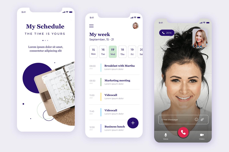 mockup of scheduling app