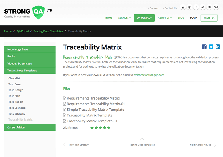 example of traceability matrix template from QA