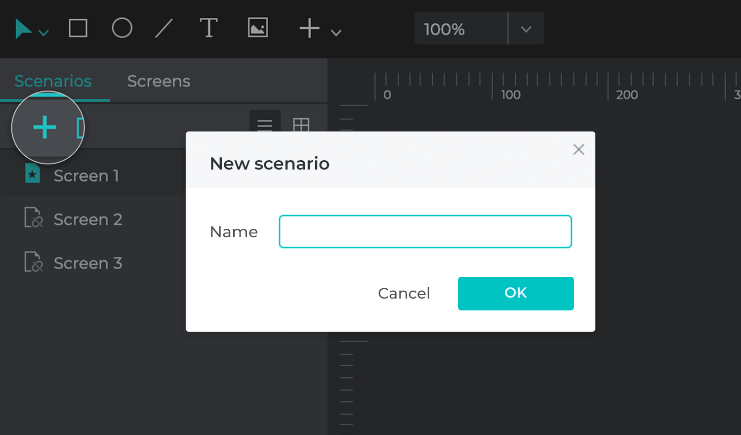 Opening a new user flow with the Justinmind Scenarios module