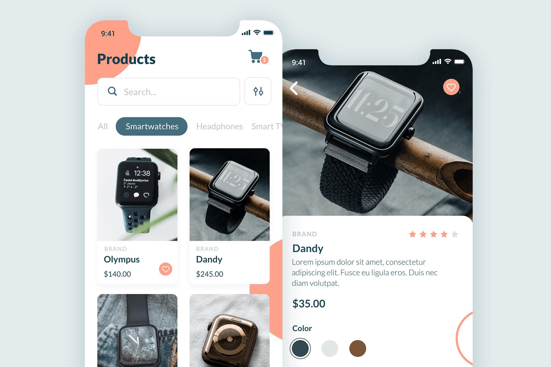 wearable tech online store app mockup