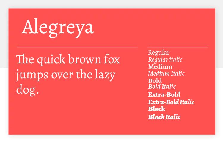 alegreya as free google font for ui design