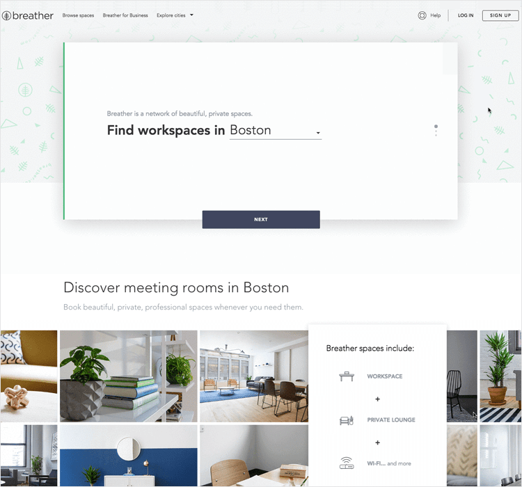 interactive landing page example from breather