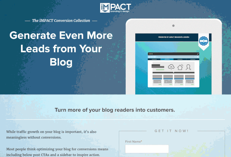 example of long landing page from Impact