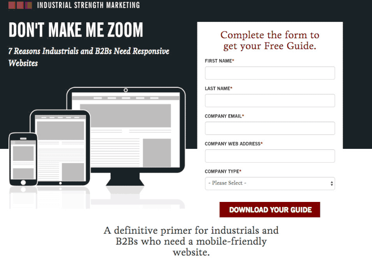landing page example from industrial marketing
