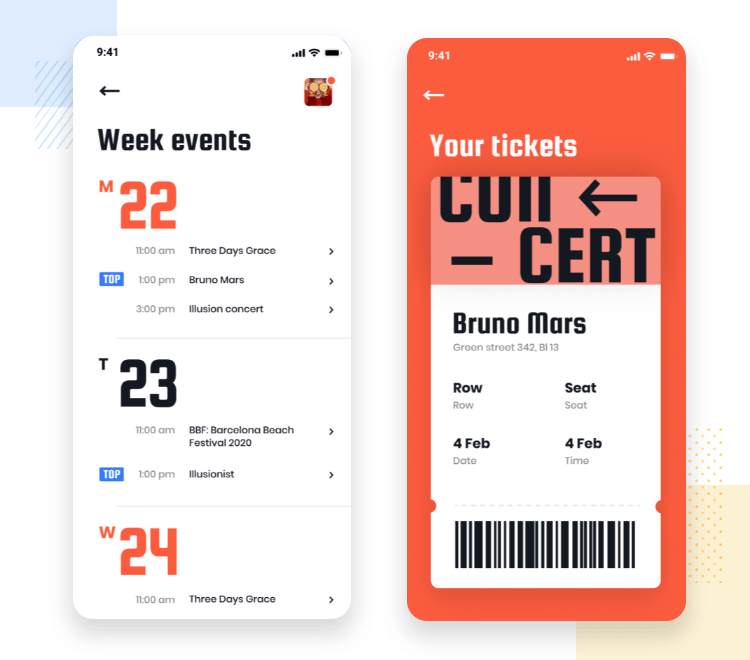 iOS app design - Event Planner UI
