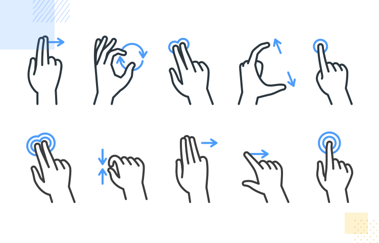 iOS app design - mobile finger gestures