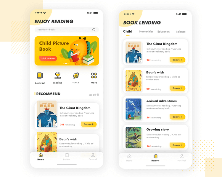 iOS design - Children's reading app UI