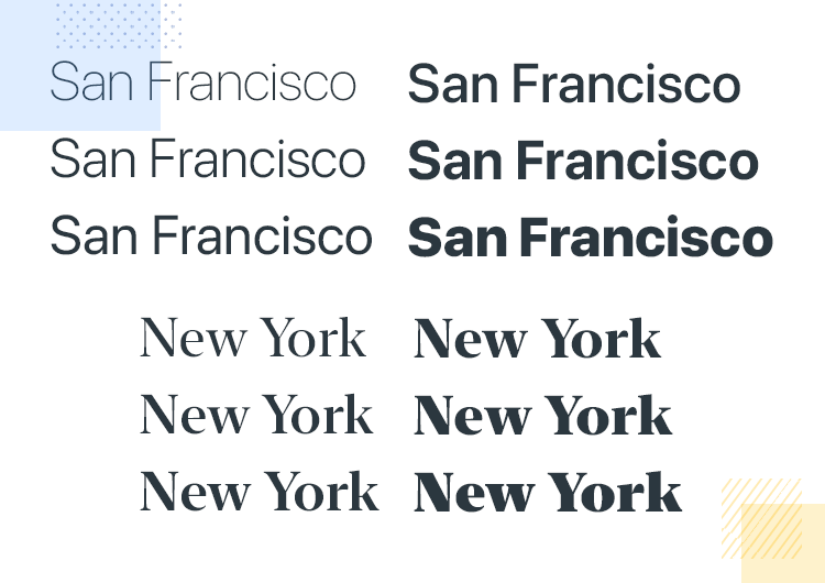 iOS app design - San Francisco fonts and weights