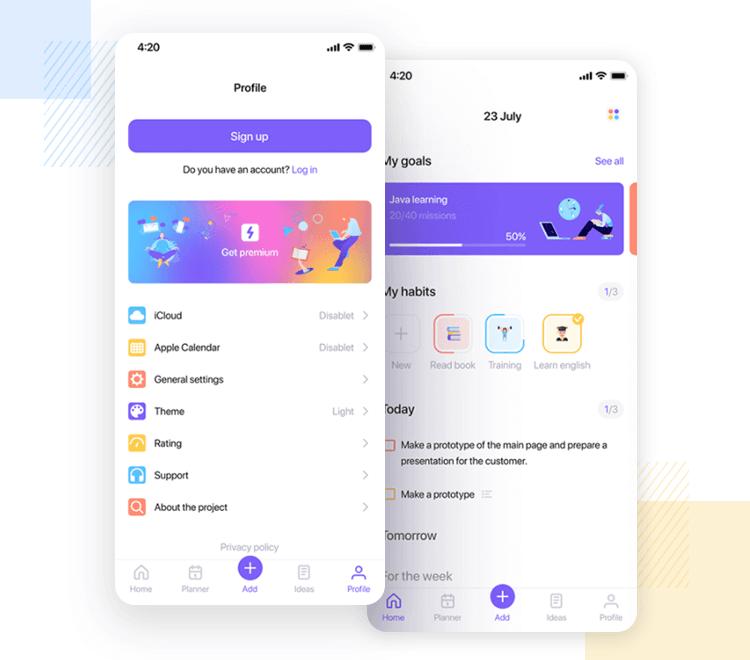 iOS app design - Task Planner UI