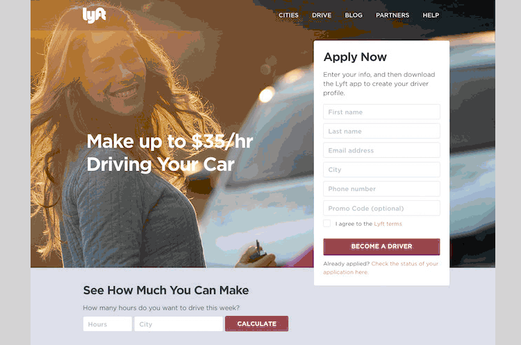 Lyft as a landing page example that goes to user goal