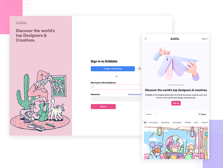 Resonsive website examples - Dribbble
