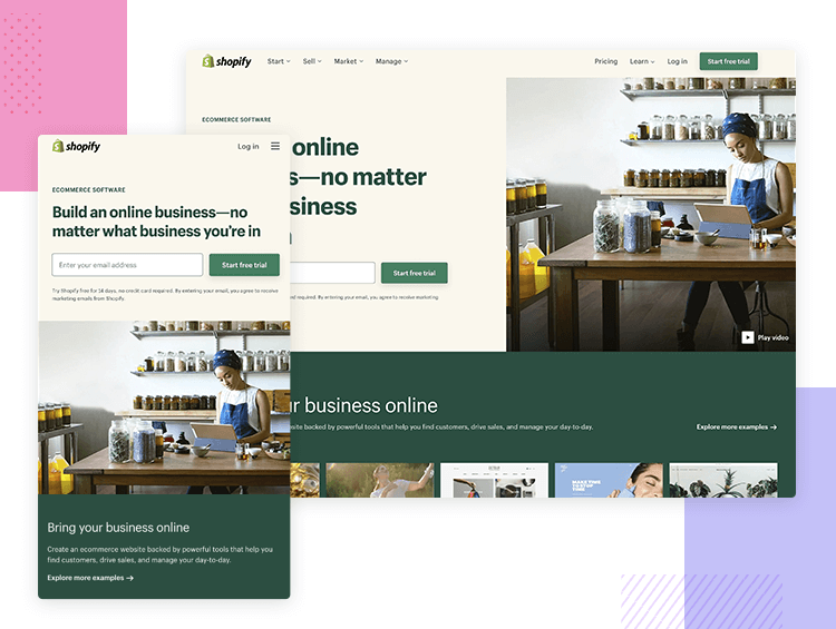 Responsive website examples - Shopify