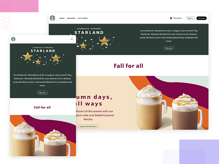 Responsive website examples - Starbucks